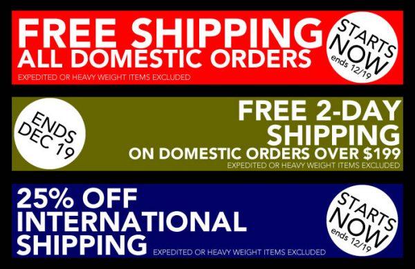 Holiday Shipping Discounts